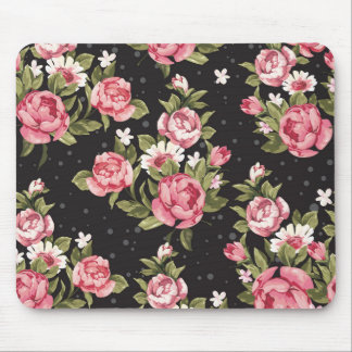 floral,roses,red,black,background,shabby chic,pink mouse pad