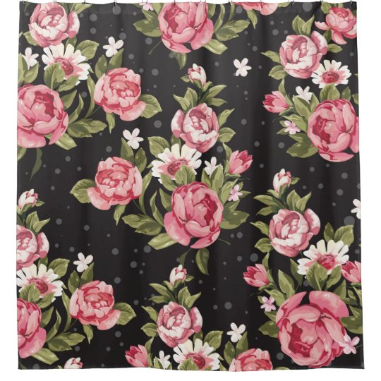 Floralrosesredblackbackgroundshabby Chicpink Shower Curtain