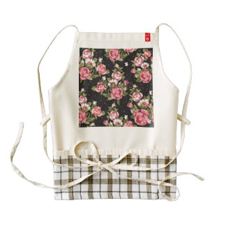 floral,roses,red,black,background,shabby chic,pink zazzle HEART apron