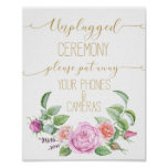 floral roses unplugged wedding print sign