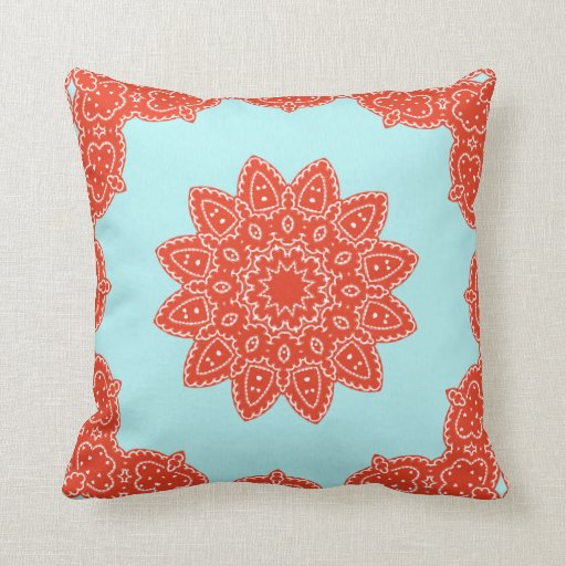 Floral Rosetta Pattern in Red & Teal Pillowcase Throw Pillows Zazzle
