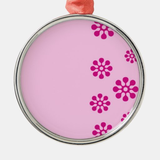 Floral Round Metal Christmas Ornament