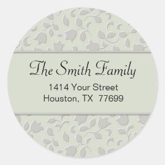 Floral Round Return Address Sticker (#LABL 006)