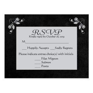 Floral RSVP Gray & Black Chalkboard Post Card