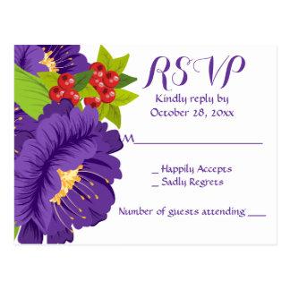 Floral RSVP Purple Flower Wedding Party Postcard