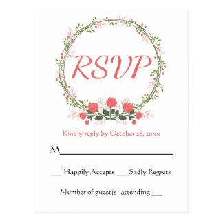 Floral RSVP Rose Wreath Pink Red Response Card