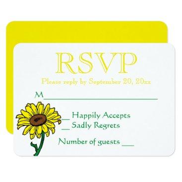 Beach Themed Floral RSVP Sunflower Yellow & Green Wedding Card