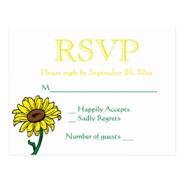 Beach Themed Floral RSVP Sunflower Yellow & Green Wedding Postcard