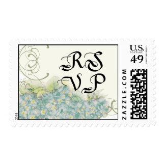 Floral RSVP Wedding Postage Aqua Hydrangea Swirl