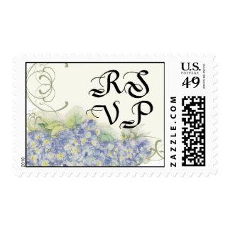 Floral RSVP Wedding Postage Blue Hydrangea Swirl