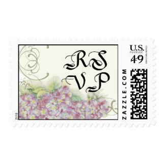 Floral RSVP Wedding Postage Pink Hydrangea Swirl