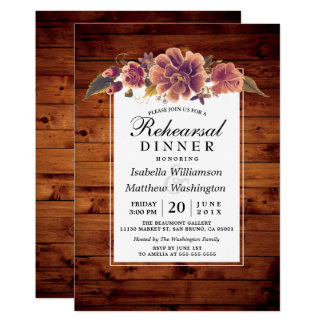 Floral Rustic Barn Wood Rehearsal Dinner Card