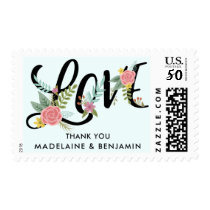 Floral Rustic Boho Chic Thank You Stamp