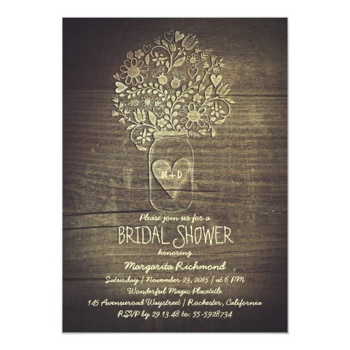Floral Rustic Mason Jar Barn Bridal Shower Card