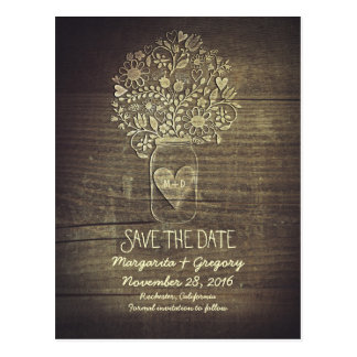 Floral Rustic Mason Jar Save the Date Postcard