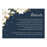 Floral Rustic Navy Blue String Lights Details Invitation