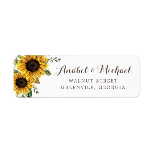 Floral Rustic Sunflower Country Barn Address Label