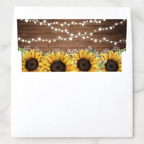 Floral Rustic Sunflower Wood Texture String Light Envelope Liner