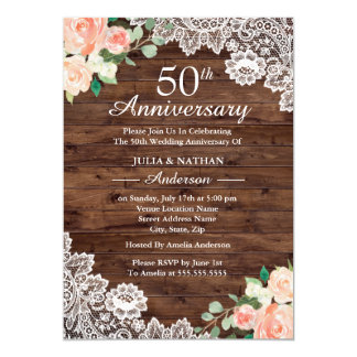 Floral Rustic Wood Lace 50th Wedding Anniversary Invitation