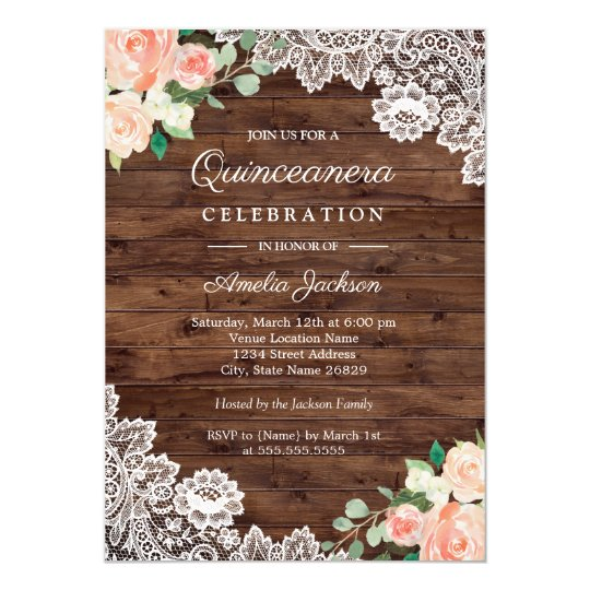 floral rustic wood lace quinceanera invitation zazzle com