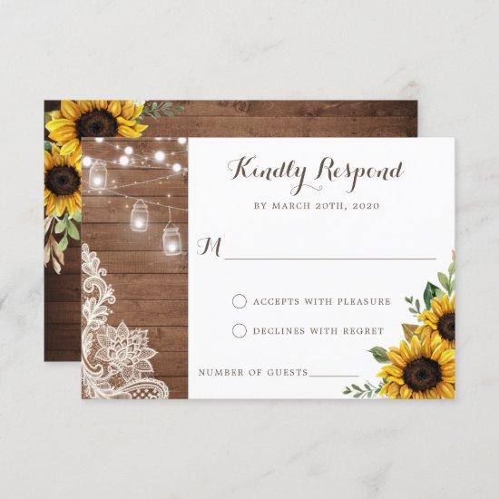 Floral Rustic Wood Sunflower String Lights RSVP Invitation
