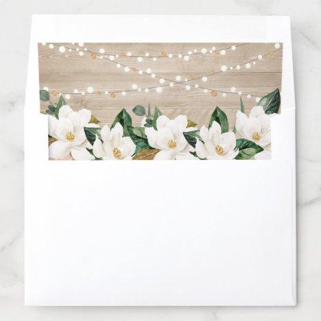 Floral Rustic Wood Texture String Light Magnolia Envelope Liner