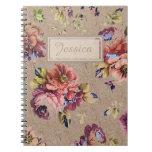 Floral rústico del vintage cuaderno