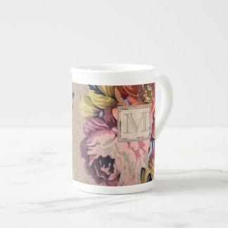 Floral rústico del vintage taza de té