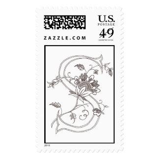 Floral S Postage Stamp