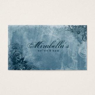 Floral Salon Spa Business Card Grunge Denim Blue
