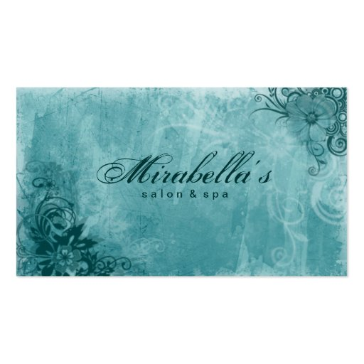 Floral salon spa business card grunge turquoise zazzle for Salon turquoise