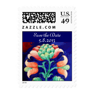 FLORAL Save the Date , blue pink green Postage Stamps