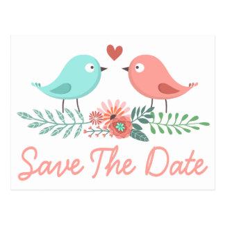 Floral Save The Date Lovebirds Blue & Pink Wedding Postcard