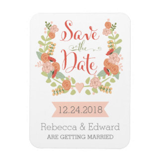 Floral Save the Date Magnet Rectangle Magnets