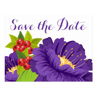 Floral Save the Date Purple Wedding Engagement Postcard