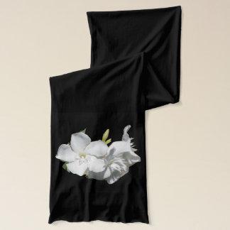 Floral Scarf 4 Women-White Oleanders on Black