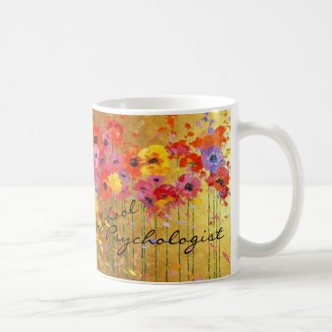 Coffee Themed Floral School Psychologist Mug
