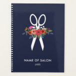 """Floral Scissors Hair Stylist Salon Appointment Planner<br><div class=""""desc"""">Spiral planner or appointment book with a pair of white scissors adorned with a  bohemian flower bouquet of orange pansies and pink and red roses.</div>"""