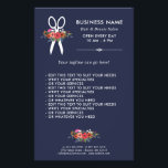 """Floral Scissors - Navy Blue Hair Salon Flyer<br><div class=""""desc"""">Hair salon business flyer in navy blue with modern white fonts,  a pair of white scissors,  and hand-drawn flowers in beautiful color combinations: coral red,  hot pink,  orange,  and white.</div>"""