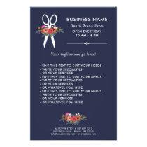 Floral Scissors - Navy Blue Hair Salon Flyer