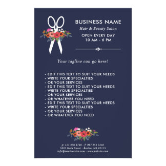 Floral Scissors - Navy Blue Hair Salon Flyer