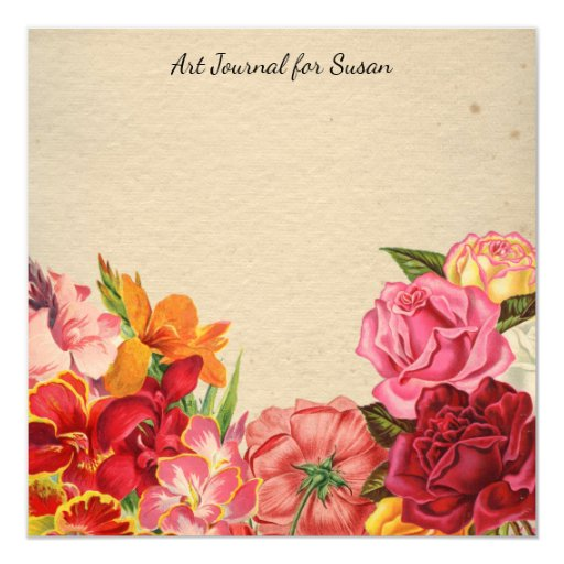 Floral Scrapbook Art Journal Valentine's Day Paper Card