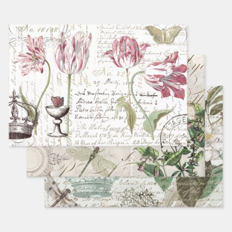 FLORAL & SCRIPT HEAVY WEIGHT DECOUPAGE PRINTS WRAPPING PAPER SHEETS