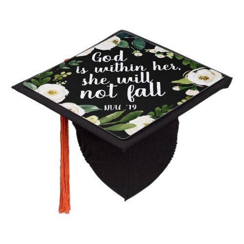Floral Scripture  Custom Class Year Graduation Cap Topper