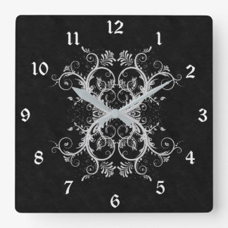 Floral Scroll Gothic Wall Clock