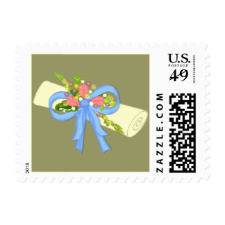 Floral Scroll Graduation or Reunion Stamp