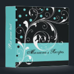 """Floral scroll leaf black, aqua blue recipe 3 ring binder<br><div class=""""desc"""">Elegant floral scroll leaf black aqua blue flourish recipe binder,  featuring white scroll leafs,  swirls and curls and turquoise blue dots on black background. There is a turquoise blue band with your text to the bottom. Classy,  stylish and chic template design that is fully customizable and can be personalized.</div>"""