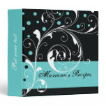 Floral scroll leaf black, aqua blue recipe 3 ring binder