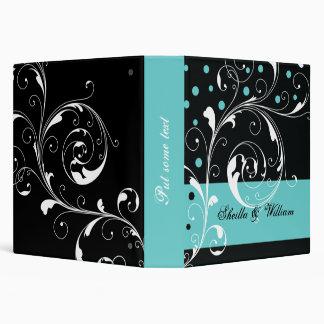 Floral scroll leaf black, aqua wedding planner binder