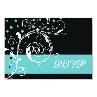 Floral scroll leaf black, aqua wedding RSVP Card